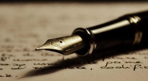 Penna stilografica e foglio