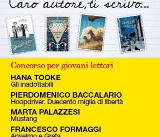 Le copertine dei libri protagonisti del concorso: Gli inadottabili, Hoopdriver, Mustang, Anselmo e Greta