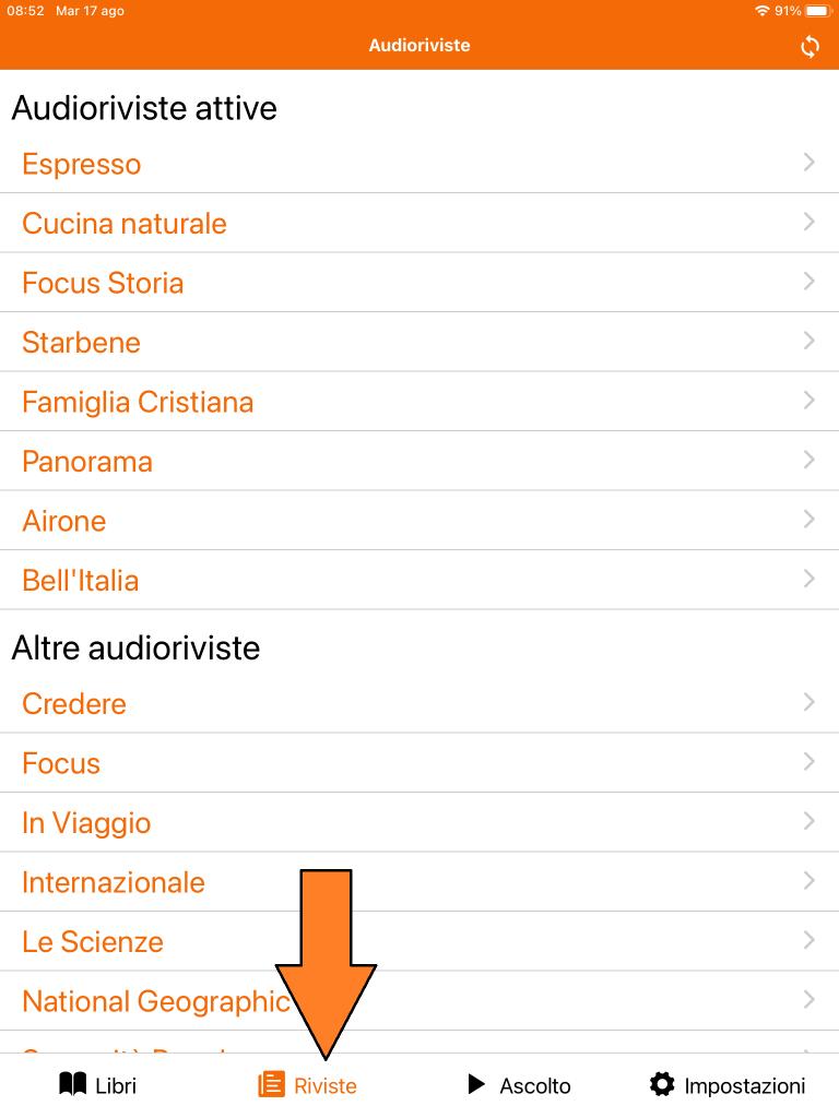 Schermata audioriviste da app