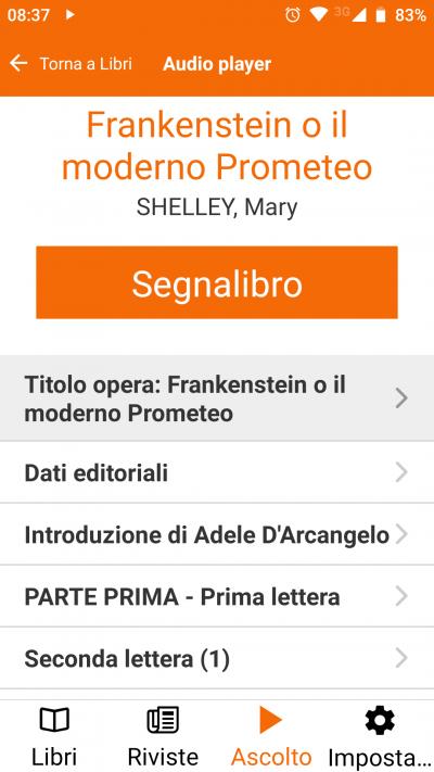 Schermata app ascolto audiolibro