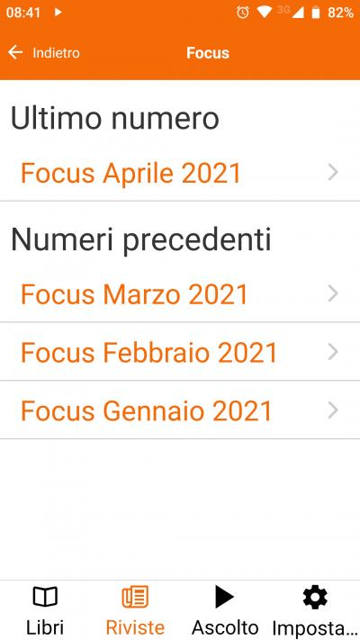 Schermata app selezione audiorivista